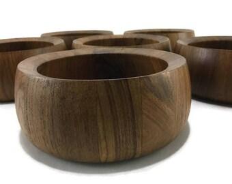 MidCentury Modern Dansk Salad Bowl Set of 6 * Thailand Teak Wood
