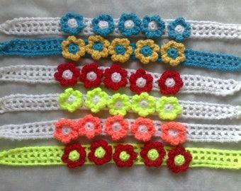 Crocheted Children headband with flowers