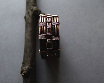 Mens Ring, Copper Wire Ring for Him, Gift for Men, Mens Jewelry, Woodland Rustic Copper Mens Ring