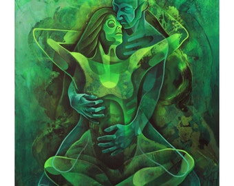 Yoga, Yogi, Namaste, Anahata, Heart, Chakra, Divine, Love, Green, Jade, Sanskrit, Couple, Spirit, Nude, Body, Figurative, Painting, Art