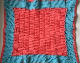 Soft basket weave crochet coral/turquoise baby blanket  - perfect for crib, play, stroller