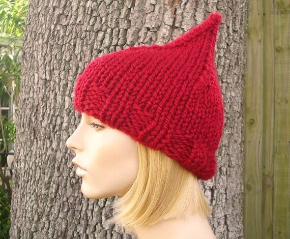 Knit Womens Hat - Cranberry Red Gnome Hat Fall Fashion Winter Accessories - Knit Accessories - 34 Color Choices