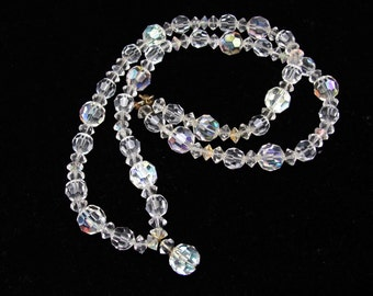 Vintage Crystal AB Necklace, 22 Inch Long, Wedding Bridal, Mother of the Bride, Prom Party, Quinceanera, Confirmation, Crystal Beaded Strand