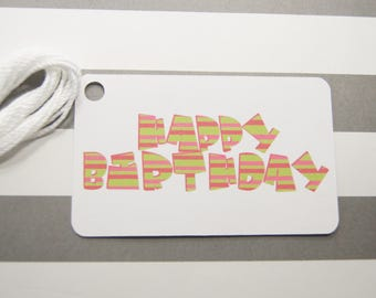 Happy Birthday Tags, Thank You Tags, Party Favor Tags, Gift Tags, Set of 8