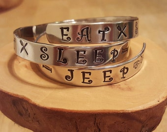 Eat Sleep JEEP hand stamped and polished aluminum cuff bracelet OIIIIIIIO makes a GREAT gift