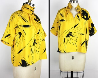 Vintage Yellow & Black Floral Short Sleeve High Neck Blouse - size small