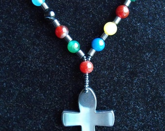 Hematite Ankh Cross and Coloured Agate Pendant Necklace