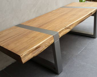 Live Edge Bench , This one is Bermese Teak with Stainless Steel