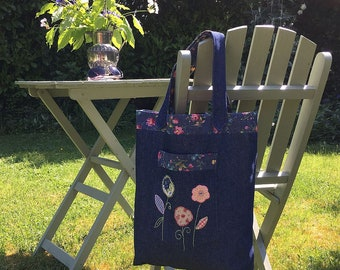 Denim Embroidered Tote Bag / Book Bag