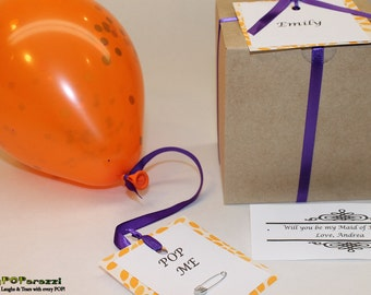 Will you be my Maid of Honor, Personalized Maid of Honor Gift box, Your personalized message inside of balloon to pop