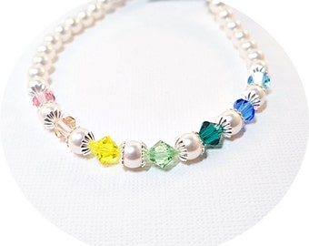 Necklace, Pearl Necklace, Crystal Necklace, Flower Girl Jewelry, Kids Jewelry, Toddler Jewelry, Multicolor Necklace
