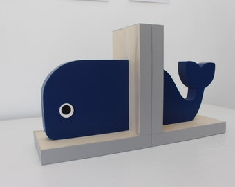 Whale Bookends, Navy Blue and Gray, Nautical Room, Nautical Nursery, Nautical Baby, Nautical Boy, Nautical Kids, Whale Baby, Wooden Whale