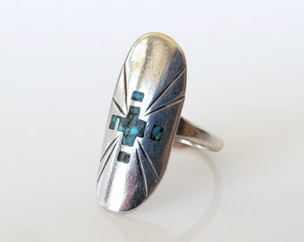 Native American Alfred Joe Navajo Sterling Silver Turquoise Ring Size 7