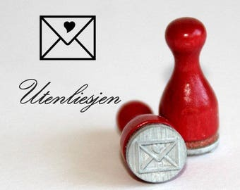 Stamp mini, letter, heart, rubber stamp Ø 12 mm