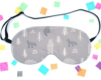 Grey Fox and Bear Sleep Mask, Forest Gift, Animal Pattern, Gray Eyemask
