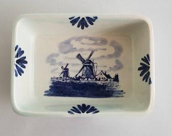 Vintage Delft Blue Windmill Handpainted Rectangular Dish