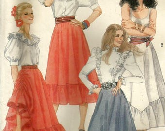 Vintage 80s McCalls 8522 Misses Drawstring Side Gathered Ruffled Skirt Sewing Pattern Size 12 Waist 26.5