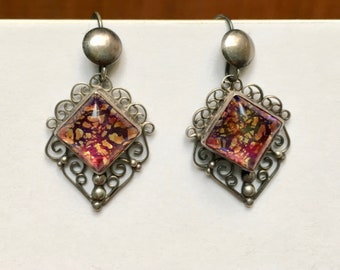vintage glass opal and sterling mexican earrings