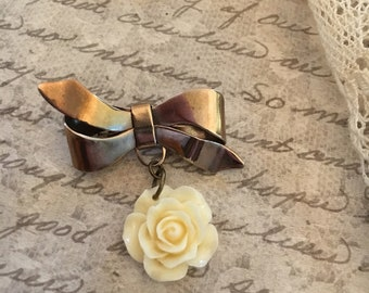 Vintage Rose Bow Pin