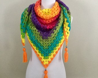 Handmade vintage boho gypsy hippie granny square crochet triangle scarf shawl wrap with tassels metal beads and bright rainbow colors