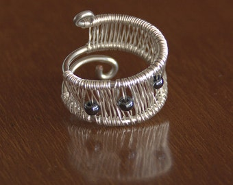 Ring wire wrap silver & copper