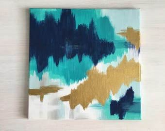 Blue and Gold Abstract Canvas Painting