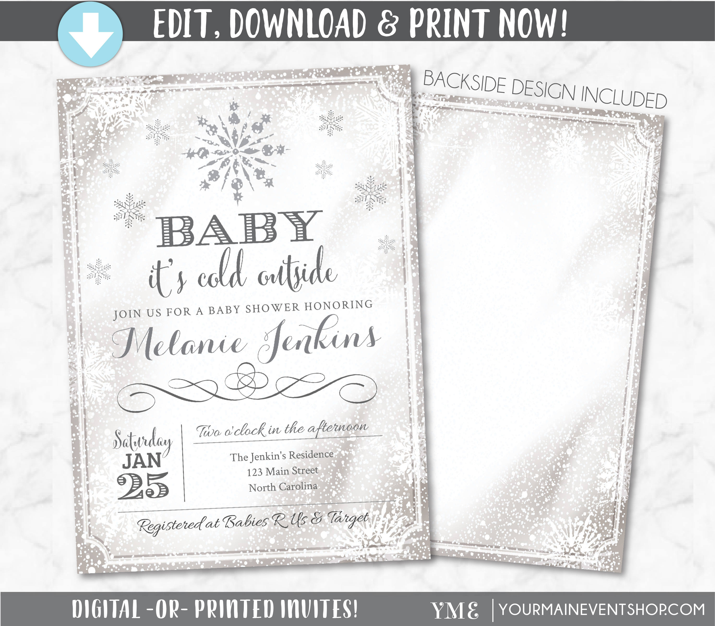 Baby It\'s Cold Outside Invite Snowflake Baby Shower