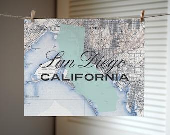 San Diego California Map Print, California Art Print, San Diego Map Print, Custom City Art