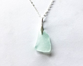 Sea glass 'Lee Bay' seafoam pendant on sterling silver, rare beach glass, sea glass jewellery, seaglass jewelry, mermaid