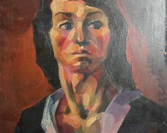Expressionism vintage portrait oil painting