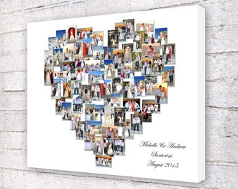 Heart Shaped Collage Personalised Custom Hand Made Box Framed Canvas Print Ideal Gift for weddings anniversaries birthdays christenings