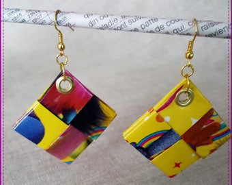 Recycled paper and laminated on yellow and multicolor earrings