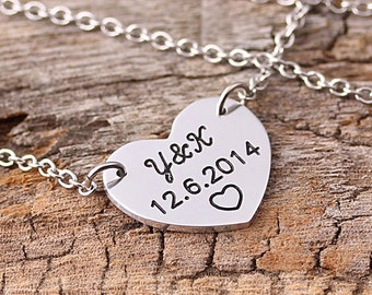 Personalized Love Heart Necklaces - Custom Message Pendant - Heart Necklace -  Initial Name Necklace