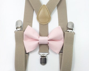 FREE DOMESTIC SHIPPING! Tan suspenders Suspenders + Pink bow tie
