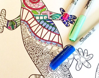 Gecko Doodle Coloring Page