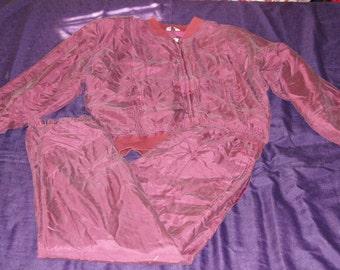 Vintage 1980s - Sandwashed Silk Matching Track Suit Size Medium