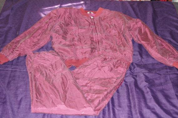 Vintage 1980s - Sandwashed Silk Matching Track Suit Size Medium 8b4ob