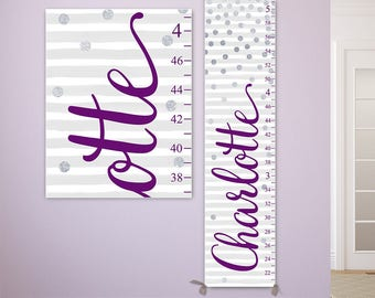 Silver Dots Growth Chart - Personalized Canvas Growth Chart, Purple and Silver Nursery, Polka Dots Nursery Decor  - GC2028E