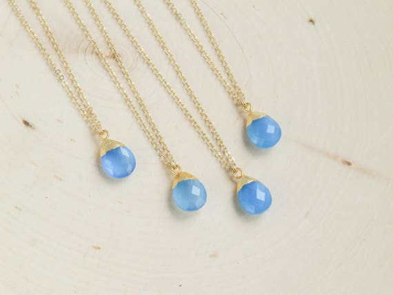 Blue Opal Necklace | Dainty Opal Necklace | Christmas gift | Wedding Jewelry | Bridesmaids Gift | Gift for Her | Black Friday