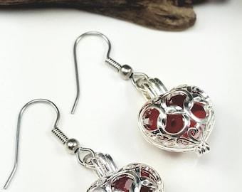 Red Sea Glass Earrings Sea Glass Jewelry Filigree Heart Earrings Sea Glass Earrings Mothers Day Gift