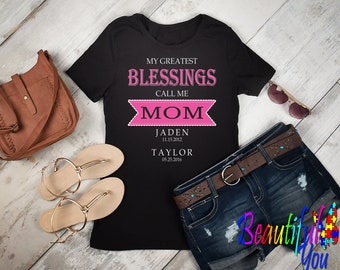 Mother's Day Women's Adult T Shirt W/Great Blessings Call Me Mom with Child's Name Design