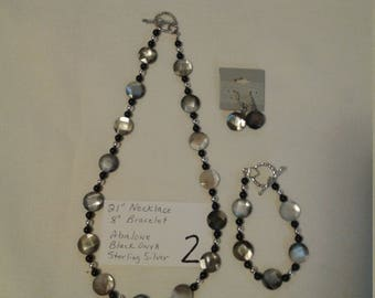 Abalone Necklace, Bracelet and Earrings