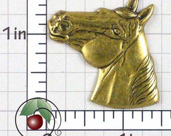 Horse Head Finding Brass Horse's Head Stamping, Western Decor, Western Horse Made in USA Antique Brass, 1 Pc, 1426bo