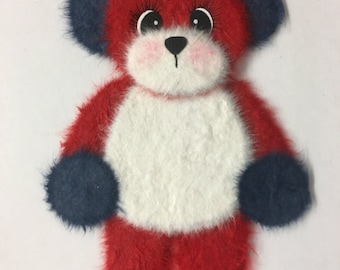 Red White & Blue Standing TEAR BEAR Scrapbook Page Paper Piecing Card