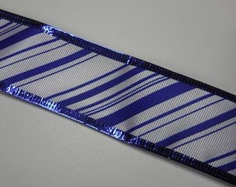 Blue Stripd Wire Edge Ribbon 2 1/2 Yards