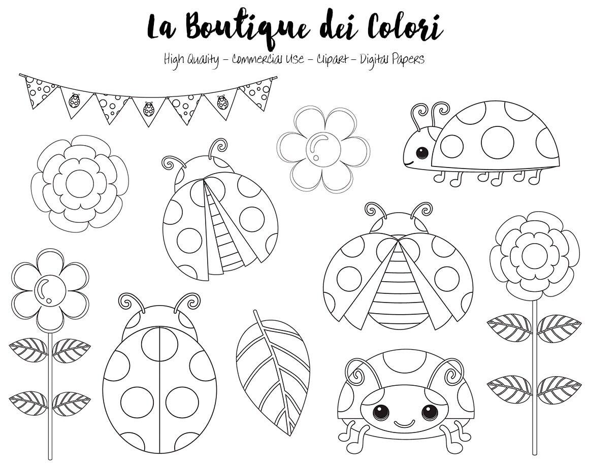 Insectos, flores, mariquita Clipart de sello Digital, lindos ...
