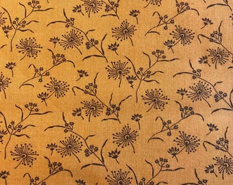 Brown Flowers on Pumpkin Background, Autumn Moon by Faye Burgos for Marcus Fabrics, 100% Cotton