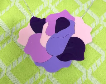 Rainbow rose statement necklace, pink and purple