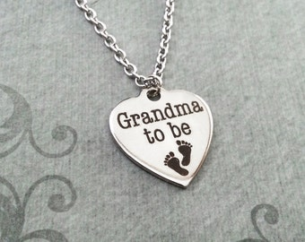 Grandma To Be Necklace SMALL Grandma Heart Necklace Grandma Jewelry Baby Feet Necklace New Baby Necklace Baby Jewelry Baby Shower Footprints