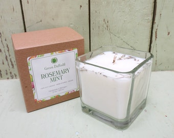 Rosemary Mint Soy Candle - 12 oz. Glass Cube - Green Daffodil - Hand poured - CG